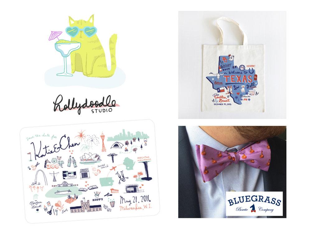 - Hollydoodle studio has been my side hustle since 2011. I work on projects ranging from custom totes, invitations, save the dates, and prints. This past year I also created the branding and artwork for a new line of bowties in Kentucky. Up until last year my outside work never really conflicted too much with my full time job. I had set boundaries and didn't take on more work than I thought I could handle.