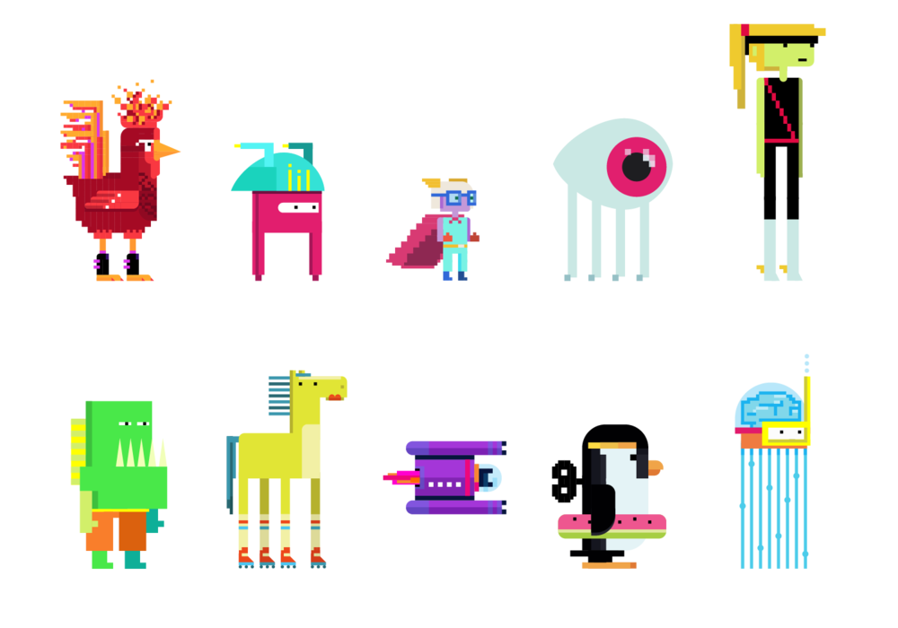 Top Left to Bottom Right: Cockadoodle Dude, Otto Flip Flop, Tiny Hermes, Jellyclops, Ninja, Chompers, Jammer, Electra-10, Wellington, & Inky Brains.