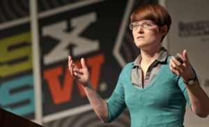Former tMa client Amber Case keynoting at SXSW 2012 (image via CNET)