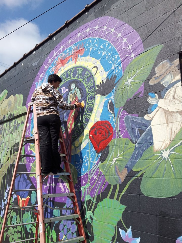 Margaret Morley   working on her beautiful mural
