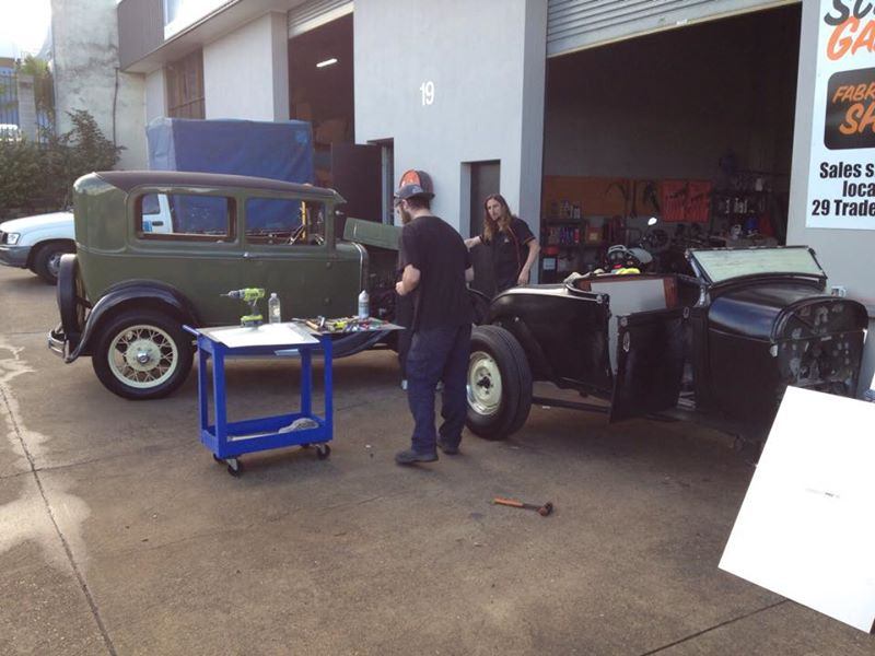 1928 Ford Model A build ol school garage (2).jpg