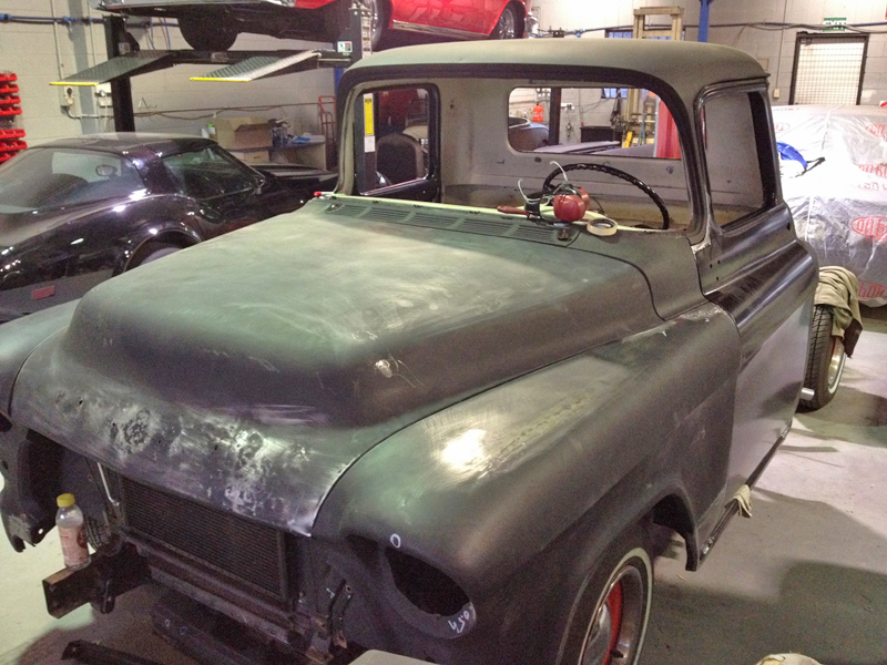 55 Chev pickup truck restoration - ol' school garage (43).jpg