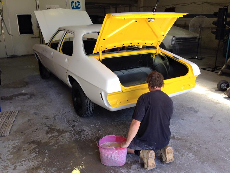 Yellow Holden HQ GTS sedan restoration (3).jpg