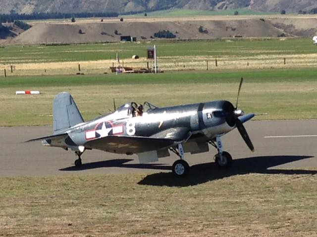 A Corsair taxis in after a magical flying display at Warbirds Over Wanaka