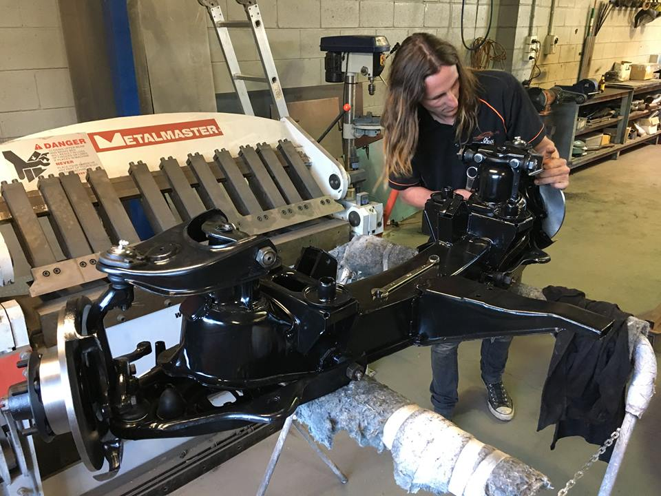 Jackie finishes the assembly of the reconditioned HR front-end. Yes, that is the rusty one in the previous post!
