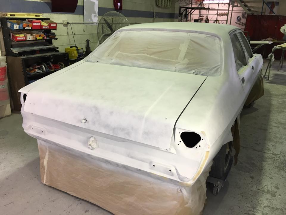 Yesterday the final dry rub of the primer was completed. Jamie sprayed a guide coat to assist with the wet rubbing.
