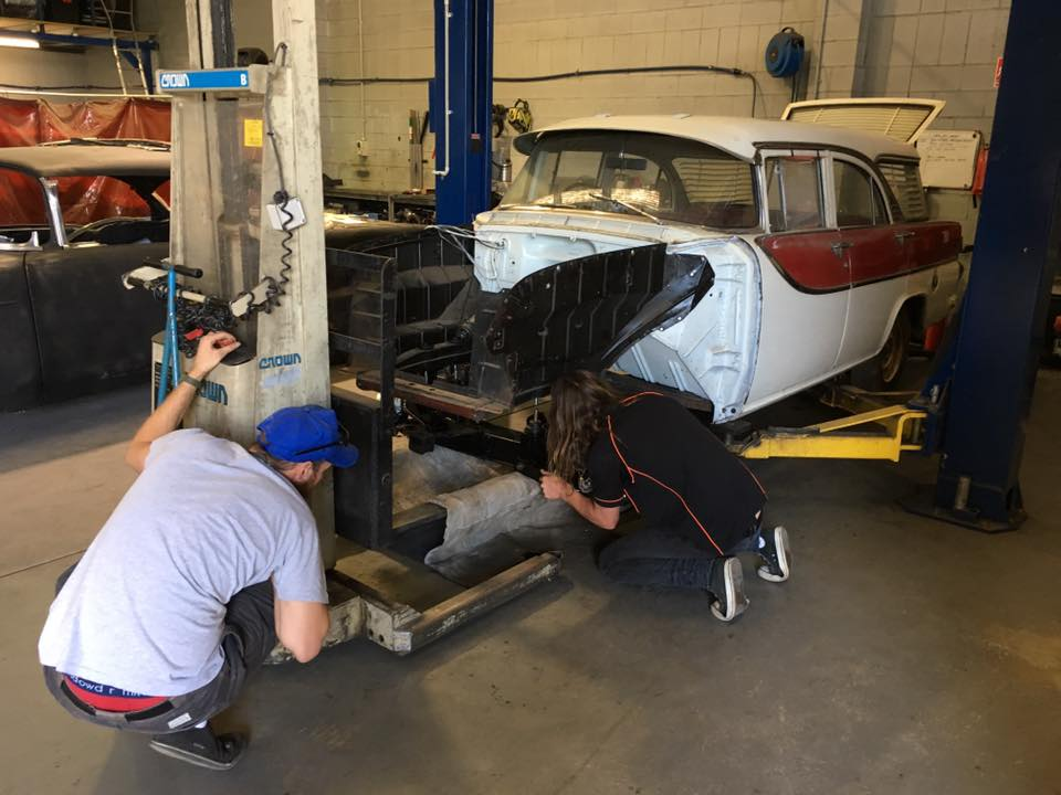 It went straight on the hoist and the reconditioned front-end was lifted into place...apologies for the view of Serge's underwear.