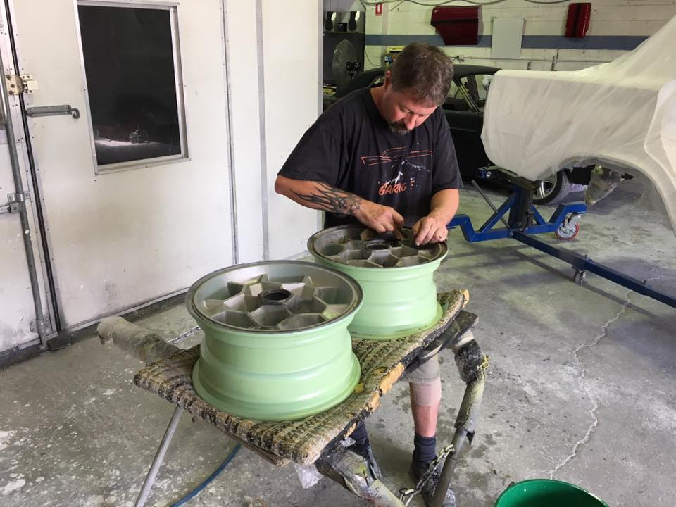Jamie is reconditioning the honeycomb rims...I'm reliably informed that these rims came out after the HJ model...but they look the part.