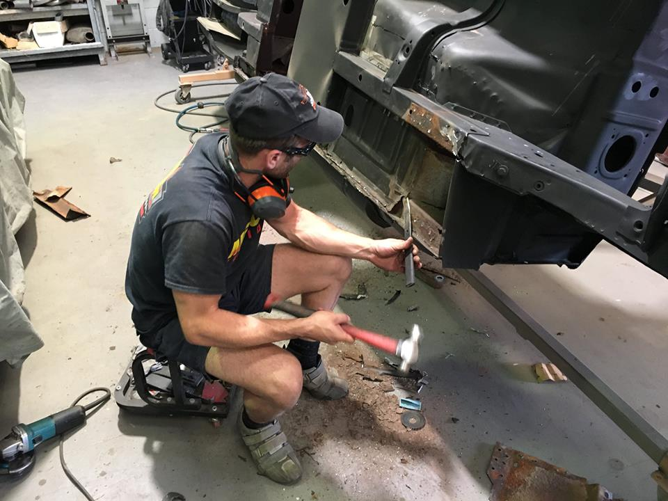 Roland had to remove supports and part of the floor to access the sills. Previous dodgy repairs complicated this task. But as the aim is to return the car back to as close as 'factory' as possible and get rid of the rust, everything has to come off.