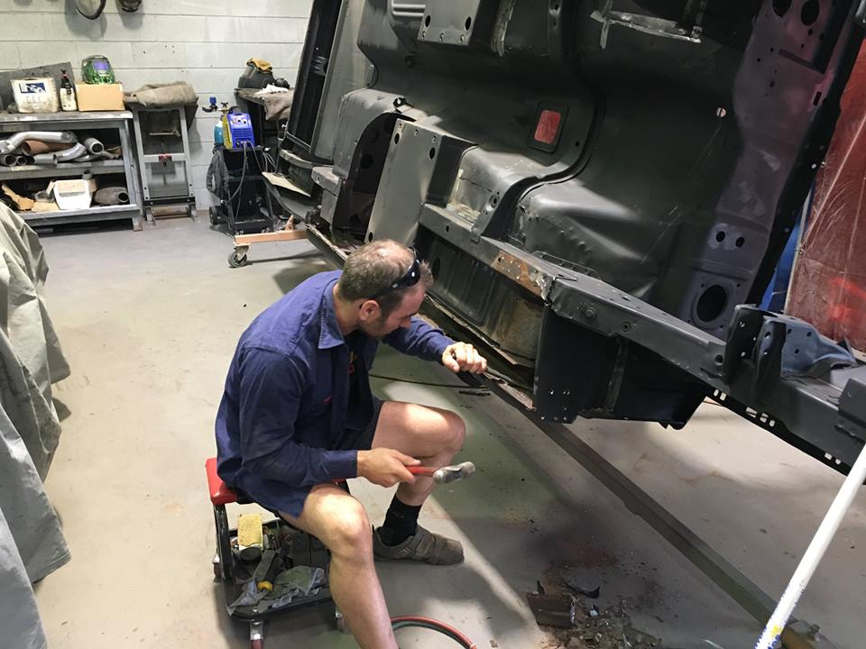 Roland will leave the outer sill in place while he welds the middle and inner sill panels in place. This allows him to position the new panels correctly with reference to the original outer sill panel.