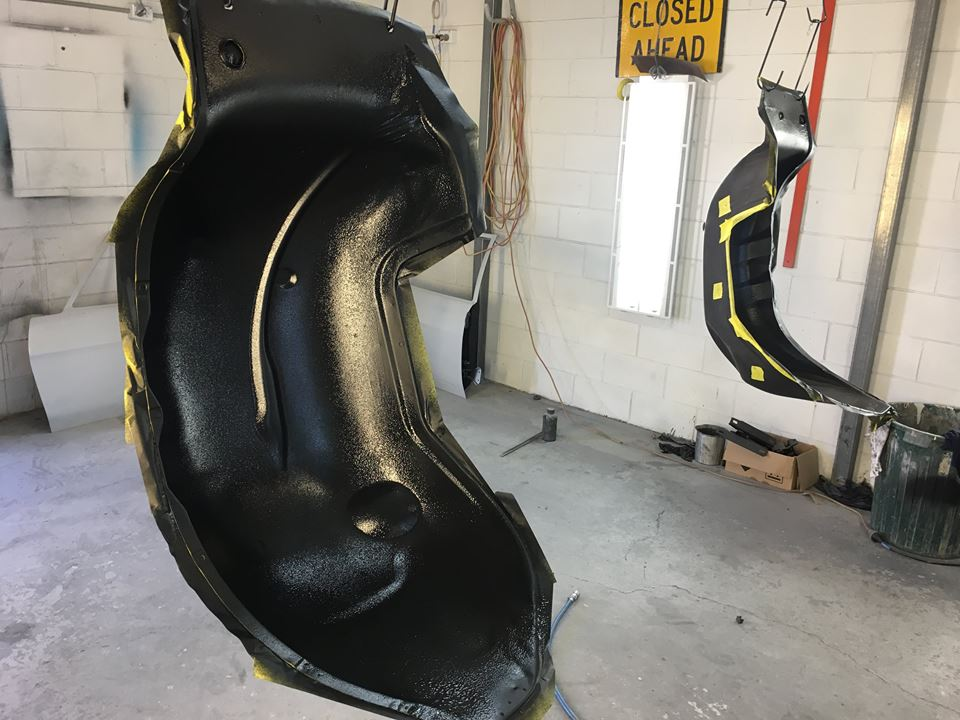 The inside of the inner guards were prepped and painted with a tough satin black texture coat.