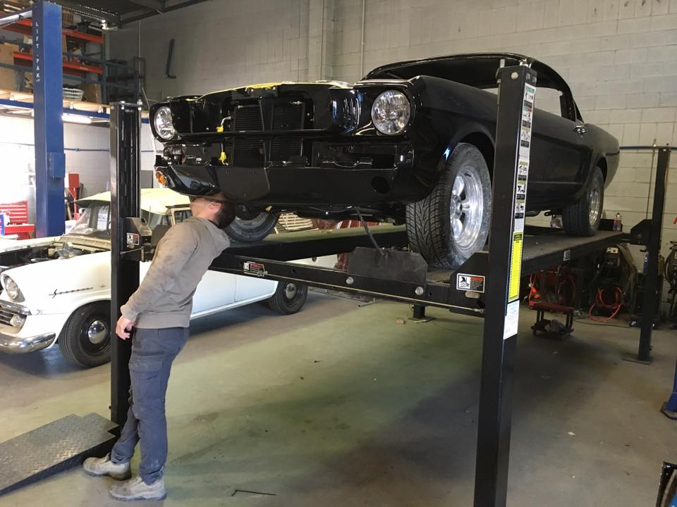 Roland is assembling our '65 Mustang Fastback.