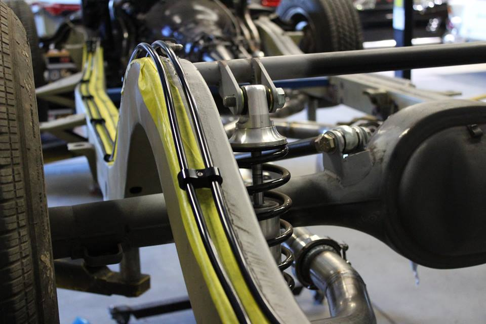 Tim has run some very fancy fuel and brake lines that will sit out of sight between the chassis and the underside of the car.