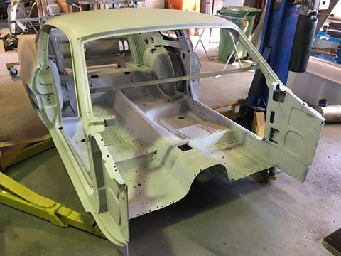 The front-end, firewall and dash assembly have been removed from the body to facilitate the RHD conversion.