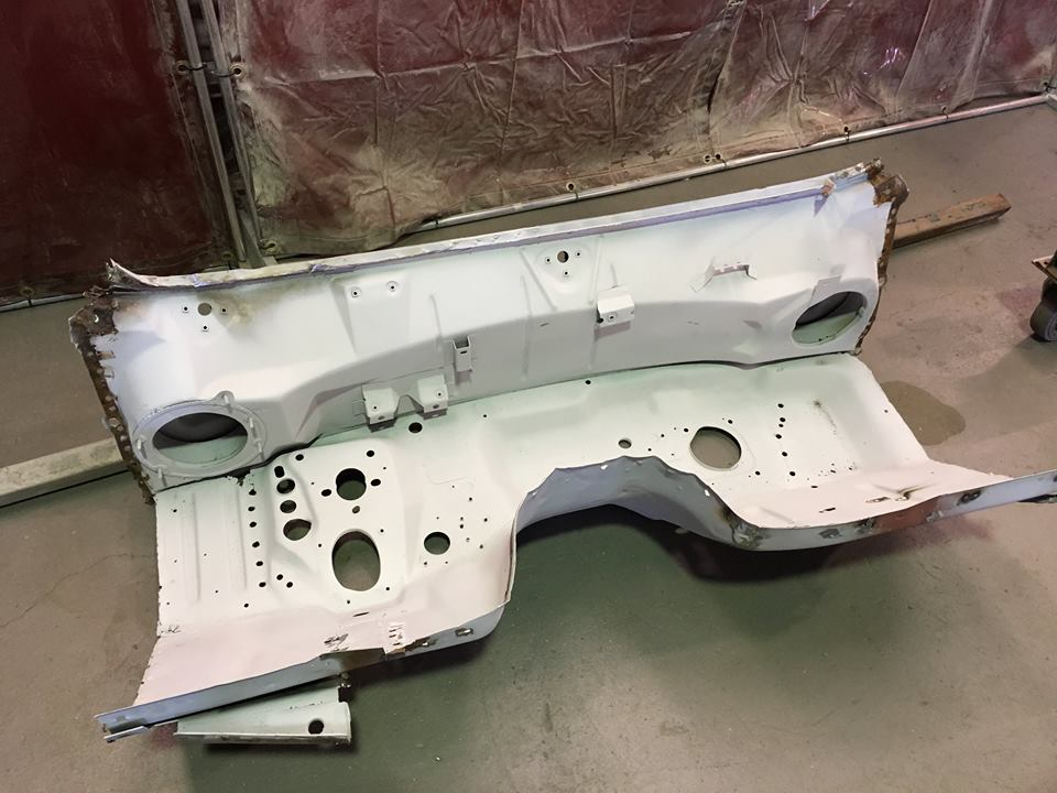 The original LHD firewall and dash assembly after removal.