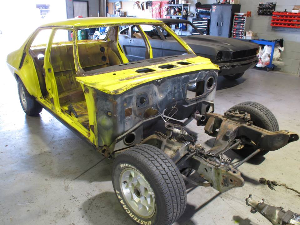 The first thing we do is fully disassemble the car ready for sand-blasting. The subframe, diff and suspension components are yet to be removed.