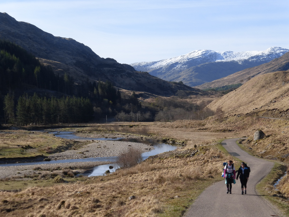 Donna and Ellie on the track from Glenfinnan