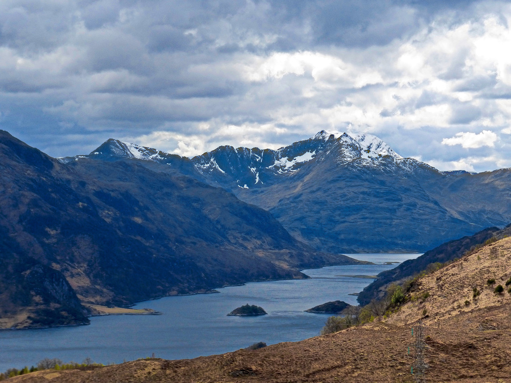 A view of Loch Hourn looking South West.  The Cape Wrath Trail follows the banks on the far side