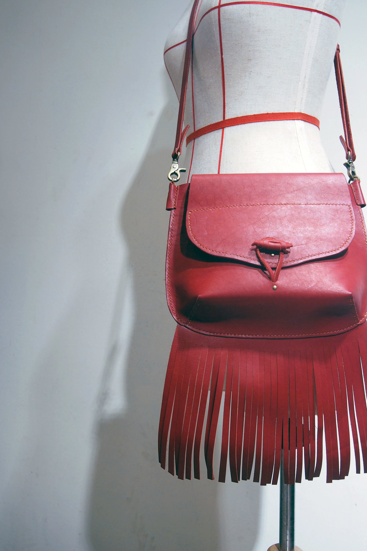 Fringe shoulder bag - by our student Amy