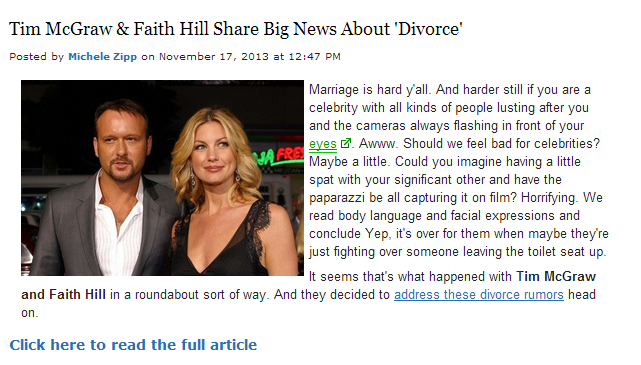 "This is what users are led to if they click ""Tim McGraw & Faith Hill share big news about 'divorce.' """