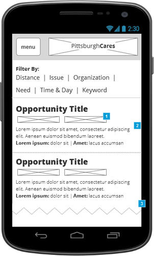 BROWSE Volunteering opportunities appear with (1) faceted info and (2) just enough detail to draw interest, in a (3) long-scroll navigation. Sticky filtering up top.