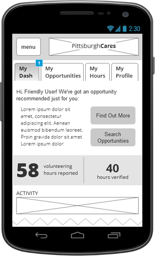 DASHBOARD   The dashboard is the linchpin for engagement in both directions between PGHC and volunteers.