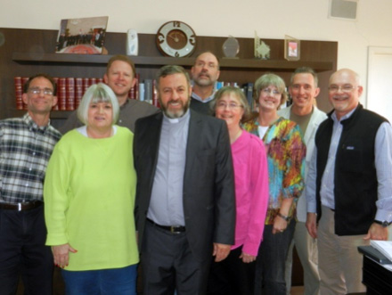 The Outreach Solidarity Team with the Rev. Fadi Dagher: (left to right) Edgar McCall, Marilyn Borst, Rev. Jack Peebles, Steve Burgess, Julie Burgess, Rev. Toby Mueller, Rev. Dr. Mark Mueller, Rev. Dr. Marshall Zieman