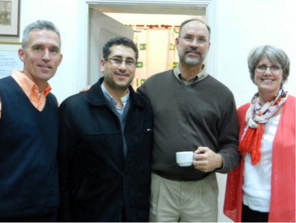 Rev. Dr. Mark Mueller, Huntsville; Rev. Feras Ferah, Qamishli, Syria; Steve Burgess, Omaha; and Rev. Toby Mueller, Huntsville build bonds of friendship while meeting in Beirut