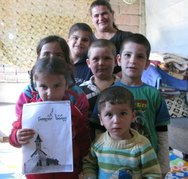 A makeshift Sunday School in Akre
