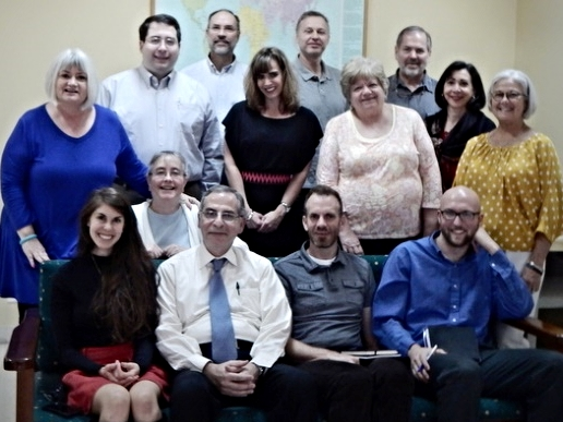 The Outreach Foundation team visits with Dr. George Sabra (bottom  row, 2nd from left), President of the Near East School of Theology in Beirut