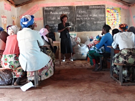 Student Dora Longwe sharing God's word with women in a poor community near Justo Mwale Theological University College