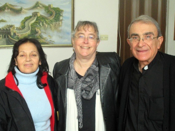 Julie Burgess (center) in Yazdia with Huda and Rev. Michel Boughos