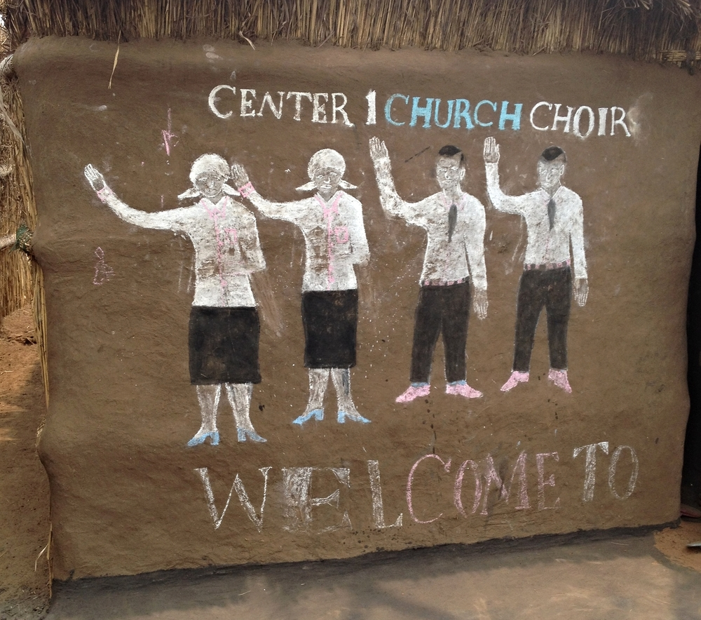 Chalk drawing on youth choir hut in a refugee camp.