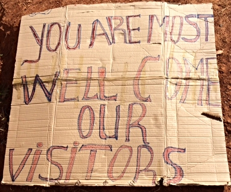 "Welcome sign, ""You are most welcome our visitors"""