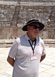Our guide at the amphitheater in Ephesus