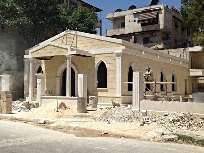 With the old church destroyed by mortars in another part of town, a new Presbyterian Church raises in Aleppo.