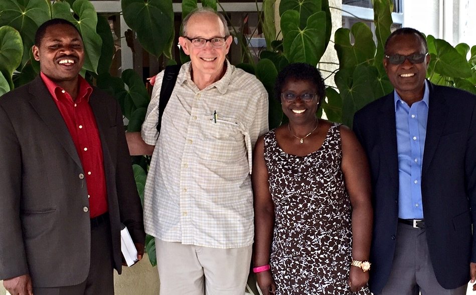 Rev.Professor Viateur Ndikumana, Rob Weingartner, Ebralie Mwizerwa, and Rev. Professor Elisee Musemakweli