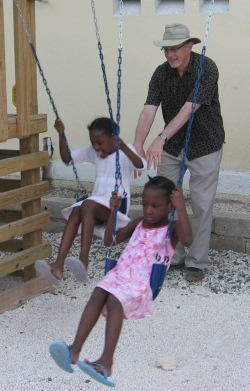 Rob and school children in Haiti.JPG