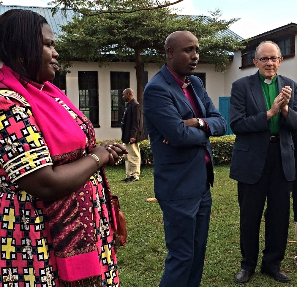 L to r, Rev. Julie Kandema, Vice-President of the Presbyterian Church of Rwanda, Rev. Jerome Bizimana, President of the Presbytery of Remera, and The Outreach Foundation's Executive Director, Rob Weingartner