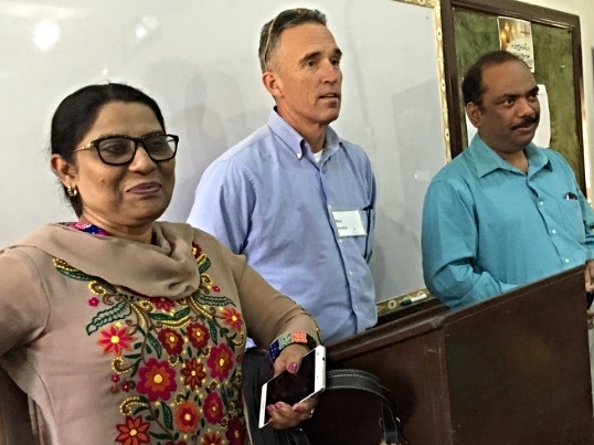 Rev. Nosheen Khan, Rev. Mark Mueller (Outreach trustee), Rev. Majid Abel (GTS trustee and Moderator of the PCP)
