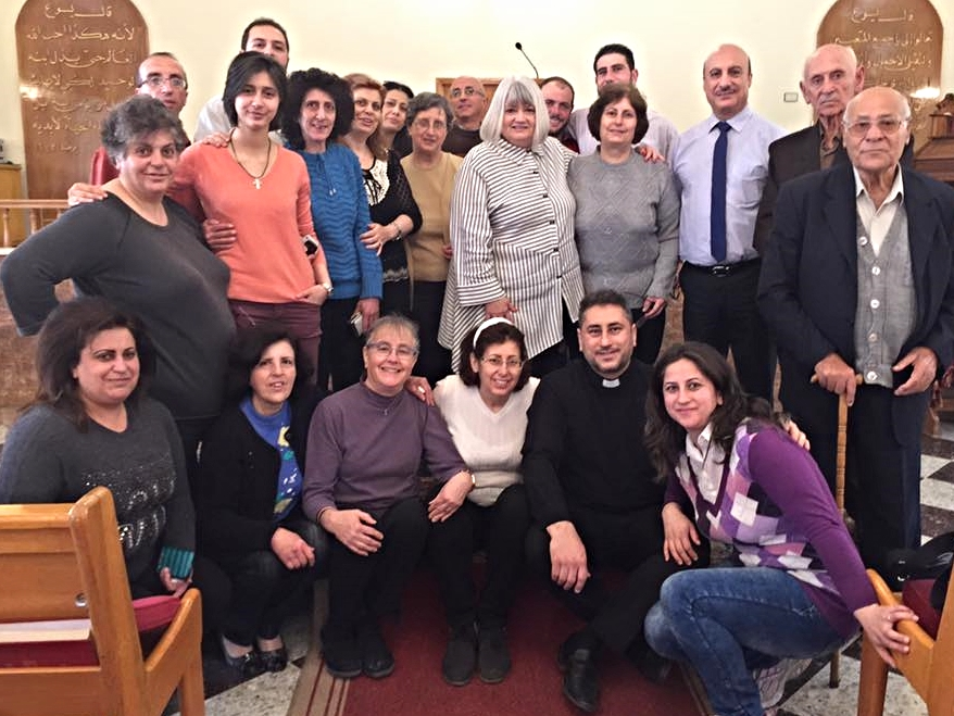 Elders and women's leaders of the church in Bloudan. Assis Feras Ferah (front row, second from right) who is the pastor serving Hasakeh, Kamishli and Malkieh in the northeast part of Syria, is from this place. Marilyn has her arm around his mother.