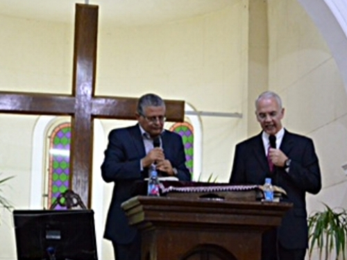 Rev. Richard Gibbons preaching at the Ibrahimia Church