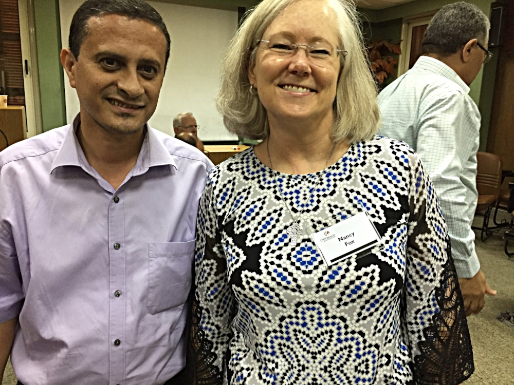 Outreach Trustee Nancy Fox (R) with the new pastor being sent to the Presbyterian Church in Basrah, Iraq.