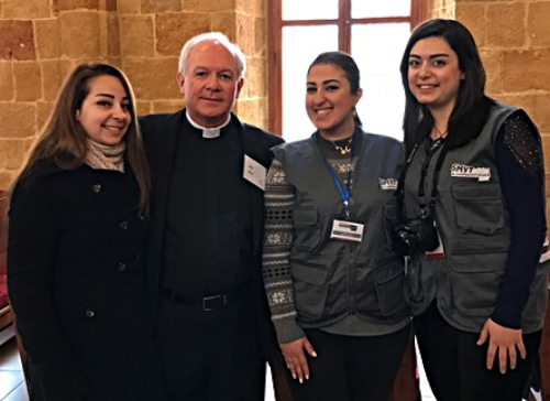 Outreach Trustee Dr. Jack Baca with new Syrian friends at the Latakia Presbyterian Church