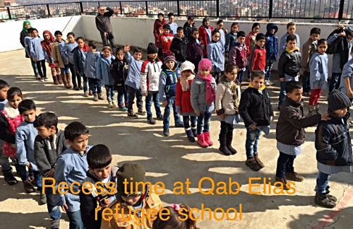Recess time at Qab Elias refugee school