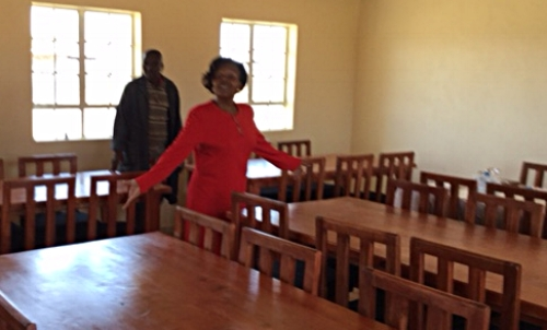 The principal at Grace Girls' High School is very excited about the furniture and library!
