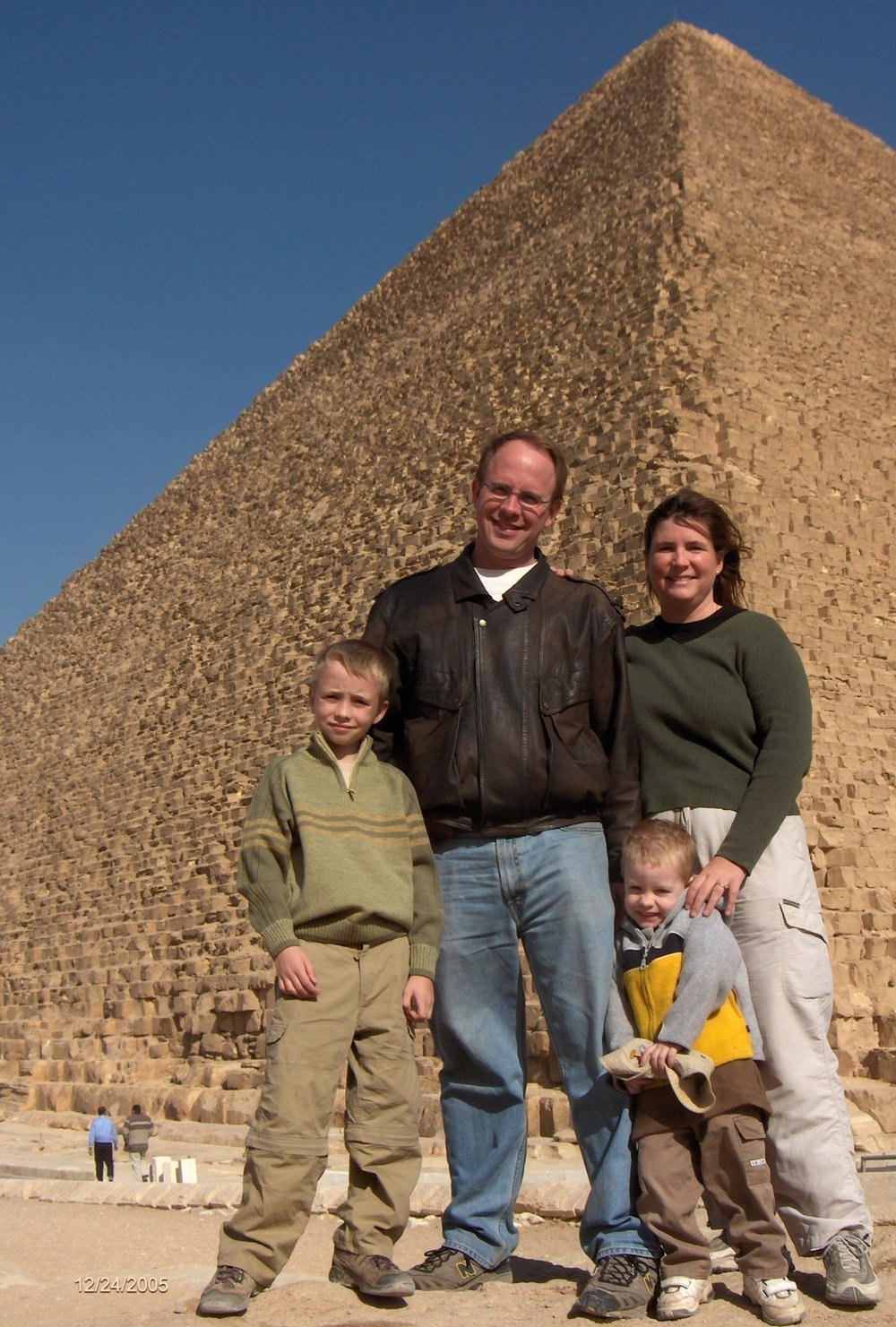 Dustin, Sherri, Clayton, and Christopher during their early days in Egypt (2005).                                       photo by Margaret Orr