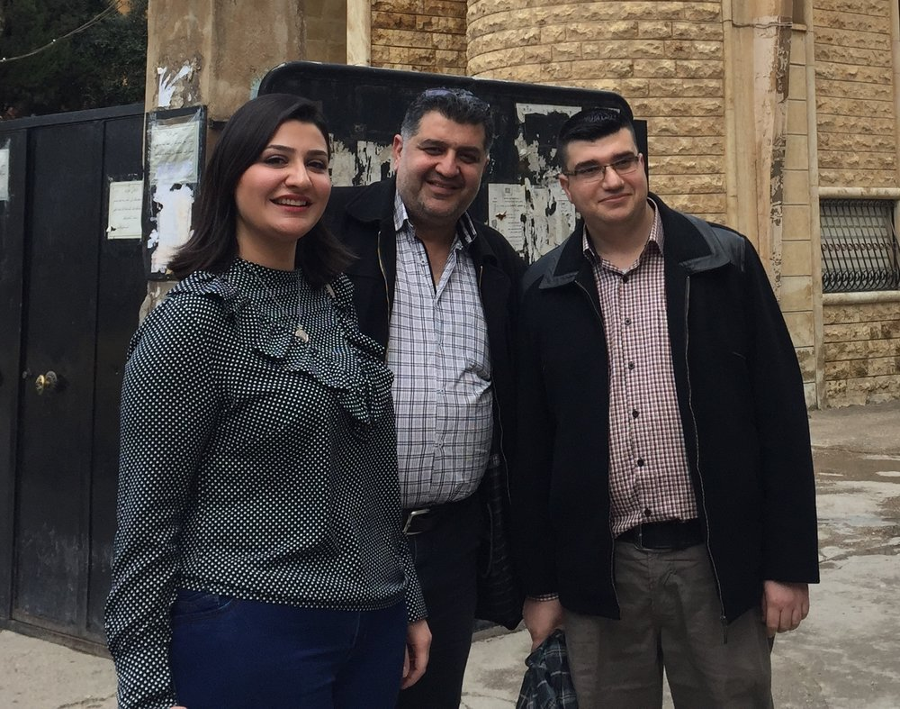 Mathilde Sabbagh with Elders Issam and Nizar at Hasakeh Church