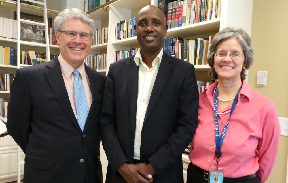 Partners in ministry: Rev. Todd Jones, First Presbyterian Church, Nashville, Rev. Jerome Bizimana, Remera Presbytery president and head of the Presbyterian Ministry for Reconciliation and Healing in Rwanda, and Patricia Heim, First Presbyterian Nashville