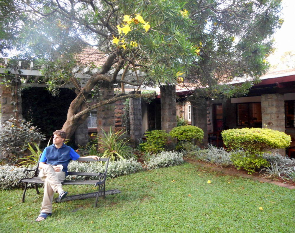 Bob under his favorite tree at the Amani Gardens Inn